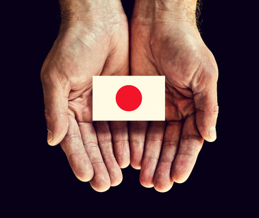 japan flag in hand